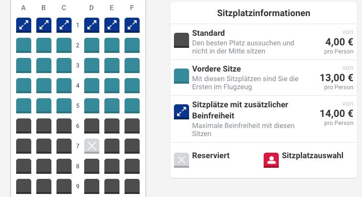 Laudamotion Sitzplätze Aufpreis