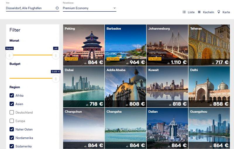 Lufthansa-Premium-Economy-Strecken