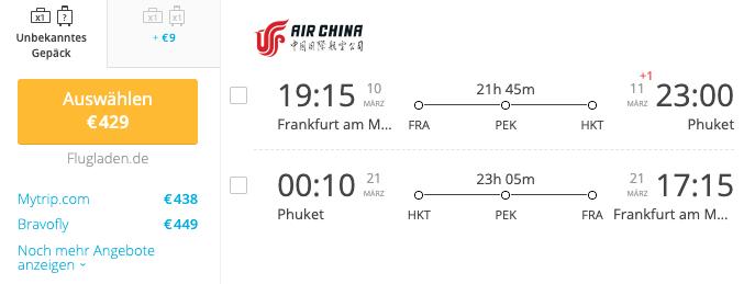 Air China Frankfurt nach Phuket März 2020