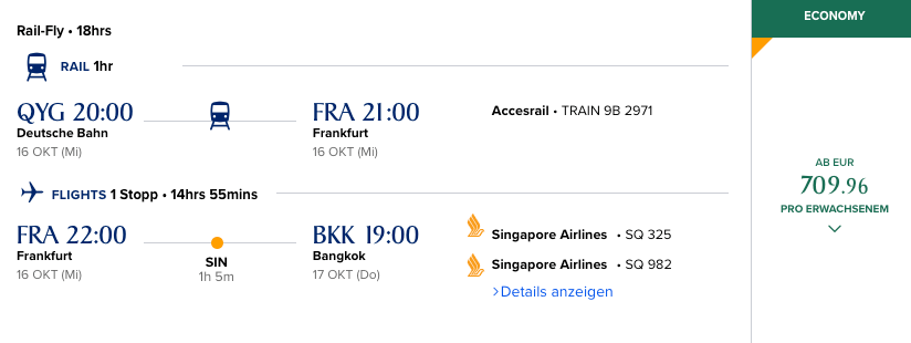Singapore Airlines Preis Rail & Fly