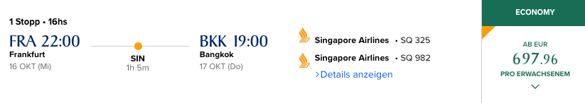 Singapore Airlines Preis ohne Rail & Fly